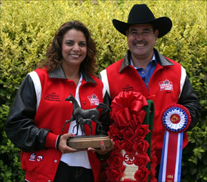 Jesse and Juana holding Canadian National Western Pleasure Open trophies
